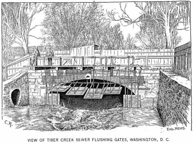 Drawing of the sewer outlet into the Potomac River, 1894. Photo by SewerHistory.org via the Affordable Housing Institute